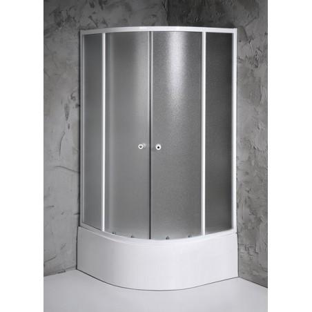 AMICHETTA kabina prysznicowa półokrągła 900x900 mm, niska, szkło matowe
