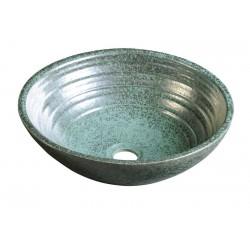 ATTILA umywalka ceramiczna, średnica 44cm, zielona miedź