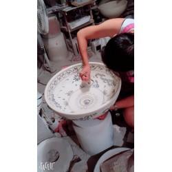 PRIORI umywalka ceramiczna, średnica 42cm, beżowa z niebieskim wzorem