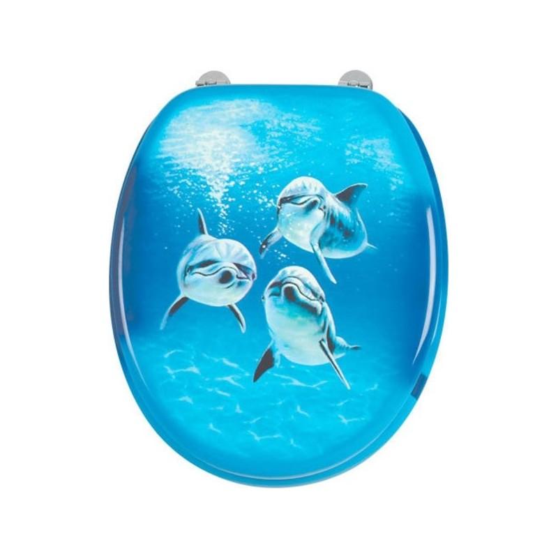 FUNNY deska WC z nadrukiem delfiny, MDF