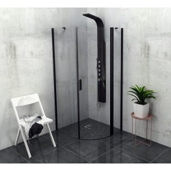 ZOOM LINE BLACK kabina prysznicowa półokrągła 900x900mm, szkło czyste, prawa
