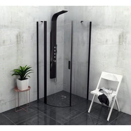 ZOOM LINE BLACK kabina prysznicowa półokrągła 900x900mm, szkło czyste, lewa