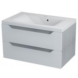 WAVE szafka umywalkowa 80x45x48cm, biała/dąb srebrny