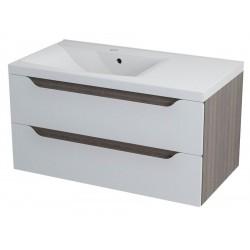WAVE szafka umywalkowa 90x45x48cm, lewa, biały/mali wenge