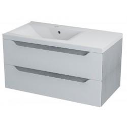 WAVE szafka umywalkowa 90x45x48cm, lewa, biała/dąb srebrny