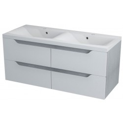 WAVE szafka umywalkowa 120x50x48cm, biała/dąb srebrny