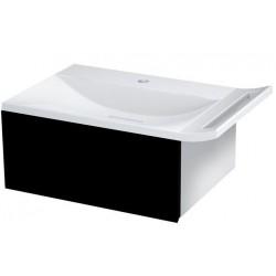 ZEUS szafka umywalkowa z syfonem 60x26x45cm, czarna/titan alu