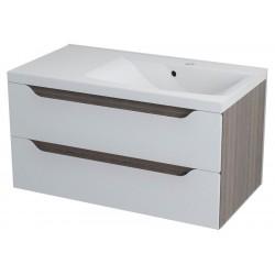 WAVE szafka umywalkowa 90x45x48cm, prawa, biały/mali wenge