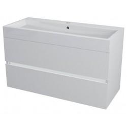 LARGO szafka umywalkowa, 99x50x41cm, biała połysk