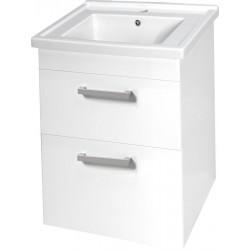 POLY szafka umywalkowa 56x74,6x46,5cm, 2x szuflada, biała