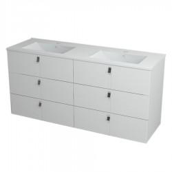 MITRA szafka z umywalką, 3 szuflady, 150x70x46 cm, biały