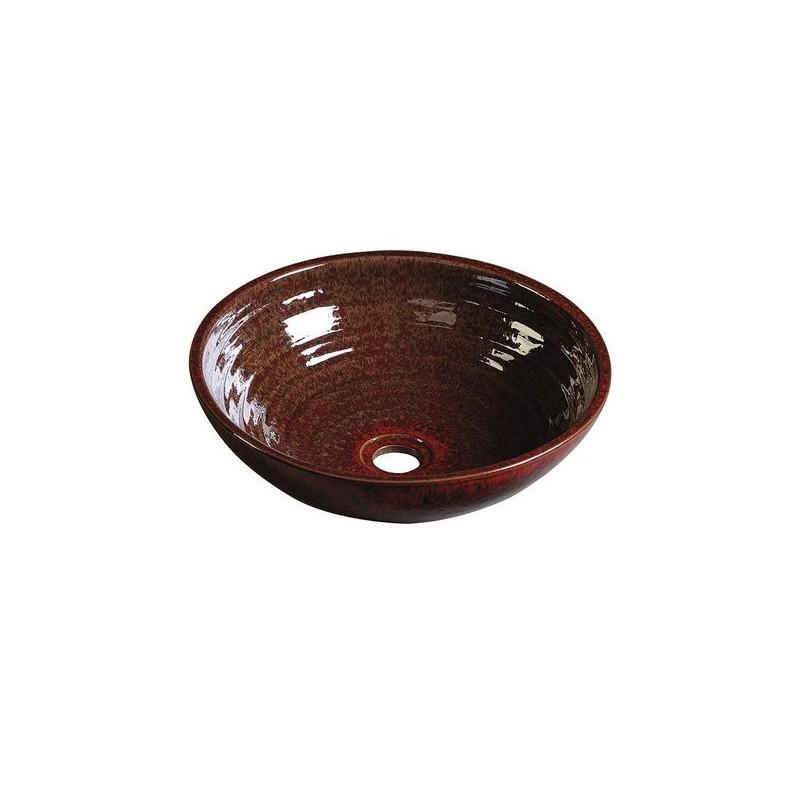 ATTILA umywalka ceramiczna, średnica 44cm, purpurowo-czerwona