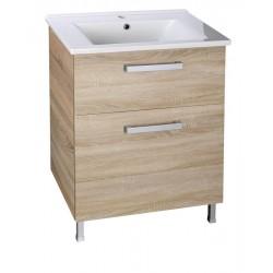 VEGA szafka umywalkowa 62x72,6x43,8 cm, 2 szuflady, dąb platin
