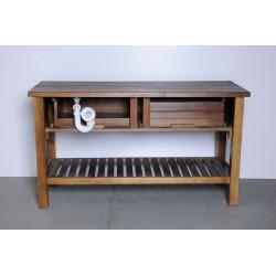 BRAND szafka umywalkowa 160x73x50cm, świerk bejcowany