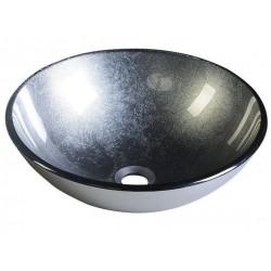 SKIN umywalka szklana, średnica 42 cm, metaliczny szary