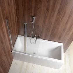 WILA parawan wannowy 90x140cm, składany, chrom, szkło czyste
